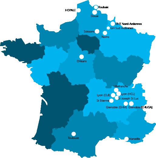 Carte de France des établissements utilisant ViaPatient